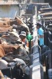 Actividad en el mercado tradicional de la vaca durante la preparación de Eid al-Adha en Indonesia Imagen de archivo