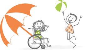 Actividad en la playa y las personas discapacitadas Imagen de archivo