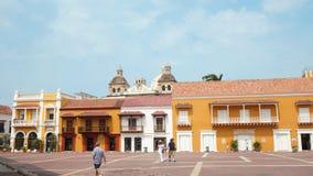 Actividad en Plaza de la Aduana en el centro histórico de Cartagena Fotos de archivo libres de regalías
