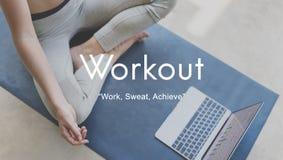 Actividad física del ejercicio del entrenamiento que entrena a concepto cardiio imágenes de archivo libres de regalías