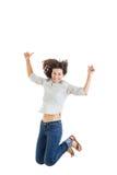 Actividad y concepto de la felicidad, adolescente sonriente en b blanco Imagen de archivo