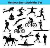 Actividades al aire libre del deporte del entrenamiento Silueta masculina stock de ilustración