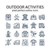 ACTIVIDADES AL AIRE LIBRE: Iconos del esquema, pictograma y colección del símbolo ilustración del vector