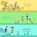 Actividades al aire libre planas del deporte del vector: funcionamiento de ciclo de la yoga Foto de archivo libre de regalías