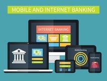 Actividades bancarias de Internet, transacción en línea Actividades bancarias móviles en diversos dispositivos libre illustration