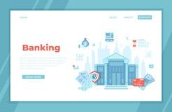 Actividades bancarias, edificio de banco, servicio financiero Operación de las cuentas de pago de transferencia del intercambio d libre illustration