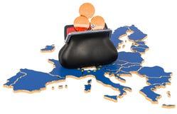 Actividades bancarias, inversión o concepto financiero en la unión europea representaci?n 3d ilustración del vector