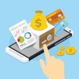 Actividades bancarias móviles con la caja fuerte Fotos de archivo libres de regalías