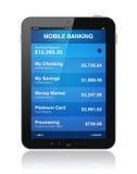 Actividades bancarias móviles en la tablilla digital Fotografía de archivo libre de regalías