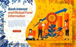 Actividades bancarias para ahorrar fondos mutuos buena agua del inter?s de banco las flores, ilustration del vector del concepto  ilustración del vector