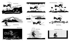 Actividades recreativas y comerciales subacuáticas del salto ilustración del vector