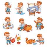 Actividades rutinarias diarias del niño de la historieta fijadas ilustración del vector