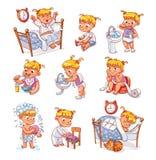Actividades rutinarias diarias del niño de la historieta fijadas stock de ilustración