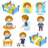 Actividades rutinarias diarias para los niños con el muchacho lindo stock de ilustración