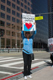 Activist in front of the consulate of Japan in Los Angeles to protest the dolphins slaughter in Taiji Stock Image