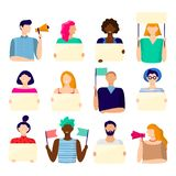 Activist holding placard. Protest active people, male and female hold poster and protesting activists vector. Activist holding placard. Protest active people stock illustration