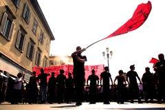 Activist met rode vlag royalty-vrije stock foto's