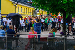 Activist protestors demonstration, in Helsinki Royalty Free Stock Photo