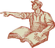 Activist Union Worker Pointing Book Drawing. Drawing illustration of a protester activist unionist union worker with book pointing to the side set on isolated Royalty Free Stock Images