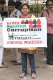 Activistas de la India contra la protesta de la corrupción Foto de archivo libre de regalías