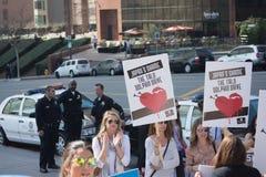 Activistas delante del consulado de Japón en Los Ángeles para protestar la matanza de los delfínes en Taiji Fotos de archivo