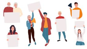 Activists with banners royalty free illustration