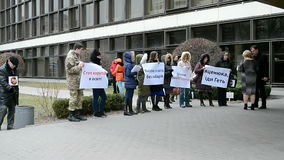 Activists demanding reforms in education, Kiev, Ukraine,. KIEV, UKRAINE - MAR 17: Activists demanding the government's resignation and reforms in education on stock video footage