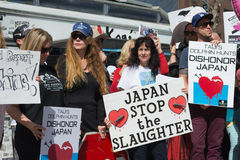 Activists in front of the consulate of Japan in Los Angeles to protest the dolphins slaughter in Taiji Stock Image