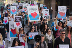 Activists in front of the consulate of Japan in Los Angeles to protest the dolphins slaughter in Taiji Stock Photos