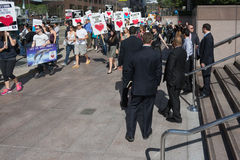 Activists in front of the consulate of Japan in Los Angeles to protest the dolphins slaughter in Taiji Royalty Free Stock Photos