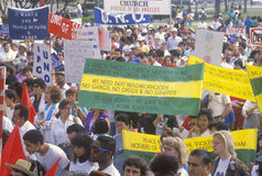 Activists holding signs during anti-violence demonstration, East Los Angeles, California Stock Photo