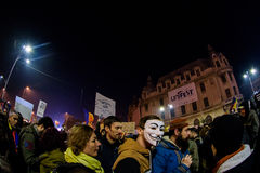Activists at November 2015 demonstrations in Bucharest Royalty Free Stock Image