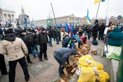 Activists occupide main ukrainian Maidan square an Royalty Free Stock Image