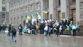 Activists protest against chaotic buildings construction without authorization, Kiev, Ukraine,. KIEV, UKRAINE - DEC 01: activists protest against chaotic stock video