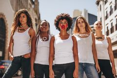 Activists protesting for women empowerment Royalty Free Stock Image