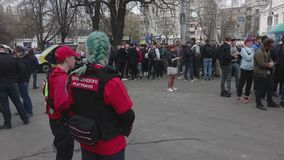 Kyiv, Ukraine. April 9, 2019. Activists and supporters of the National Corps political party attend a rally to demand an investiga stock video footage