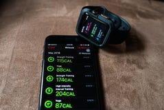 Activité APP sur l'iPhone photographie stock libre de droits