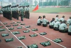 Activité 13 d'entraînement militaire d'étudiants universitaires de la Chine Photographie stock libre de droits
