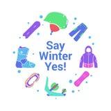 Activité d'hiver et icônes plates d'équipement sur le fond de cercle Faites du surf des neiges la veste, panneau, casque, botte,  Images libres de droits