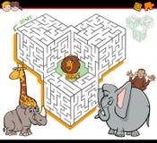 Activité de labyrinthe de bande dessinée avec des caractères d'animal de safari illustration libre de droits