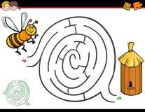 Activité de labyrinthe de bande dessinée avec l'abeille et la ruche illustration libre de droits