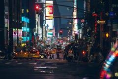 Activité de rues de nuit de Manhattan Photographie stock