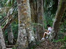 Activité en plein air de fille asiatique de botaniste de biologiste avec le mode de vie dans la forêt tropicale photographie stock libre de droits