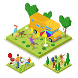 Activité en plein air isométrique Camping et barbecue Mode de vie et récréation sains illustration libre de droits