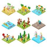 Activité en plein air isométrique Kayaking, volleyball de plage, vélo de montagne, surfant et barbecue Mode de vie et récréation  illustration libre de droits