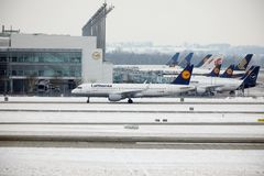 Activité plate d'aéroport dans l'aéroport MUC de Munich Photographie stock libre de droits