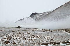 Activité volcanique, vatn de ½ de MÃ Photos libres de droits