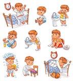 Activités courantes quotidiennes d'enfant de bande dessinée réglées illustration libre de droits