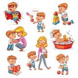 Activités courantes quotidiennes d'enfant de bande dessinée réglées illustration stock