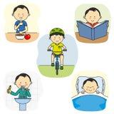 Activités d'un garçon illustration libre de droits